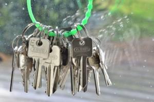 Schlüsselbund mit grünem Schlüsselring